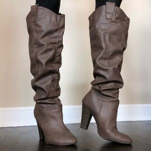 Faux Leather Heeled Western Knee High Boots